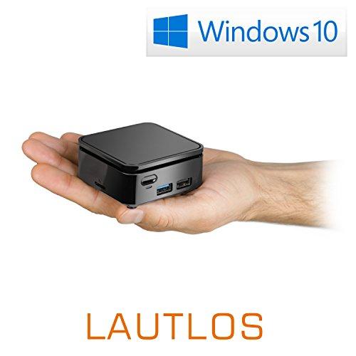 Mini PC - CSL Ultra Tiny PC / Win 10 - Silent Mini-PC mit Intel QuadCore CPU 2500MHz, 32GB SSD, Intel HD Graphics 505, WLAN, USB, HDMI 2.0, microSD, Bluetooth, Windows 10 Home