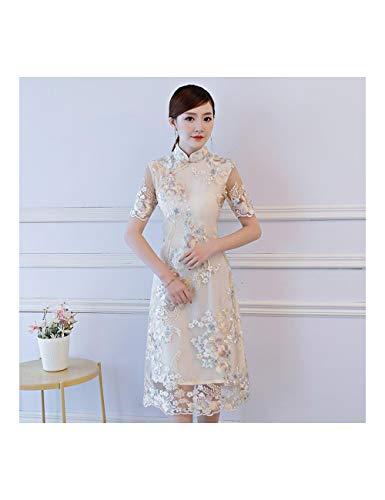 ATLD Cheongsam Champagner Elegante Dame Abendkleid Blume Klassische Qipao Edle Ganzkörperansicht Cheongsam Weibliche Braut Hochzeitskleid,Champagner Stil 1,L (Elegante Braut Kostüm)