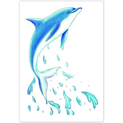 n temporär - Delfin / Delphin - Hals / Hand / Oberarm / Unterarm / Oberschenkel / Unterschenkel / Wade / Beine / Dekolleté / Hüfte / Rücken / Bauch - 10,5 x 6 cm - Aufkleber Sticker Körperkunst Abziehbar - Wasserdicht (Halloween-tag Bedeutung)
