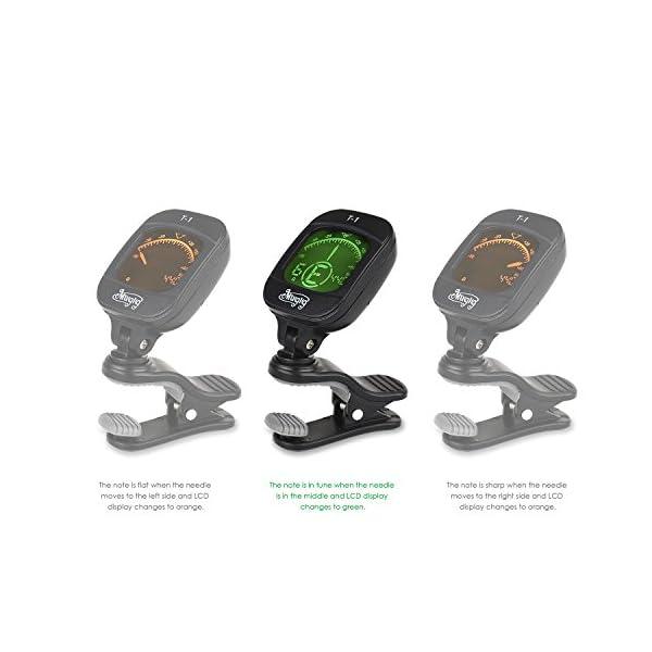 Mugig Accordatore da paletta per Chitarra, Basso, Ukulele e Violino con Display super chiaro LCD,include batteria al litio, spegnimento automatico dopo 5 minuti di inutilizzo