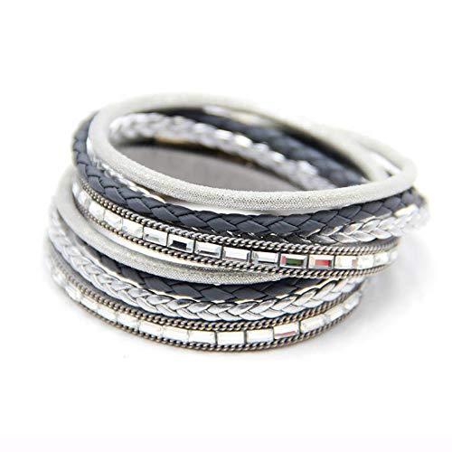 XIANNU Damen Armband,Multilayer wrap Bracelet für Frauen mit klarem Glas Steine Pflastersteine Armband für Sommer schmuck Grau