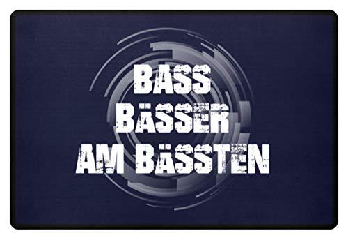 PlimPlom Bass Bässer Am Bässten Techno Rave Festival Türmatte - Fußmatte -60x40cm-Dunkel-Blau -
