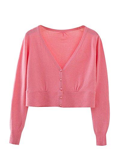 Femme Profond V-Cou Léger Court Paragraphe Bouton Respirant Cardigan En Maille pink