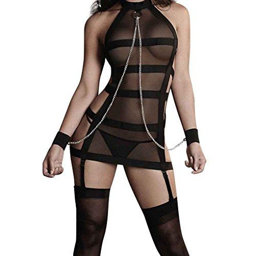 Meisijia Frauen SM Cosplay Bandagen Splice Perspective Verbandsmull Erotische Wäsche-Kostüm