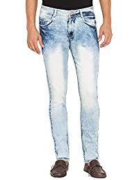 Flying Port Men's Slim Fit Ice Blue Comfortable Waer to Jeans