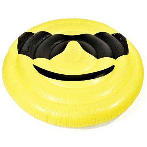 Goods & Gadgets Aufblasbare Matratze Smile Luftmatratze XXL Badeinsel Schwimminsel Luftbett 150 cm Durchmesser