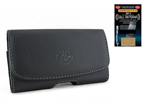 Leder-Schutzhülle für Samsung Galaxy Note 2 Note II, horizontal, mit Magnetverschluss, Gürtelclip und Gürtelschlaufen, Übergröße mit Otterbox Commuter on, inkl. Handyantennenverstärker