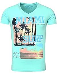 T-Traxx Herren T-Shirt MIKA Vintage Look Palmen Beach Surfer Sommer Printshirt
