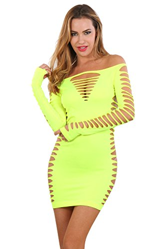 Miss Noir Damen Kleid elastisch und flexibel tragbar Einheitsgröße mit Langärmliges Clubwear Partykleid