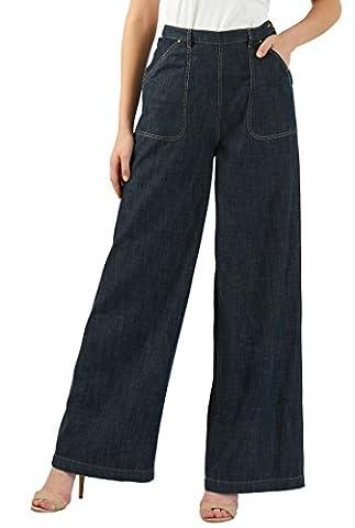 eShakti Women's Chambray cotton denim palazzo pants UK Size 24W