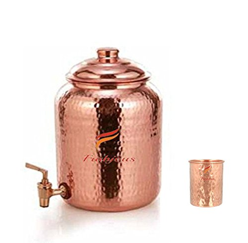 Frabjous Handmade Pure Solid Copper Water Pot Tank Matka, 5 Ltr With...
