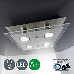 Square LED Glass Lamp Ceiling light, 4 x 3 W 250 Lumen Warm-white colour, GU10 fitting by B.K.Licht