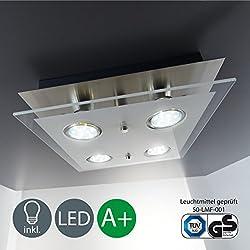 LED plafón con cuatro luces led GU10 de 3W de potencia y 250lúmenes - color níquel mate - plafon cuadrado para dormitorio -pasillo - cocina y cuarto de ninos