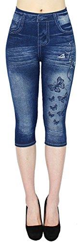 dy_mode Damen Capri Jeggings 3/4 Leggings in Jeans Optik - Gr.36/38/40 - CLG001 (3LG135-Butterfly)
