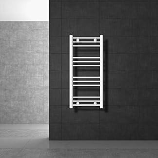 ECD Germany Radiador de baño toallero – 400 x 800 mm – Blanco – Plano – Con conexión lateral – Calienta toallero – No electrico – Radiador calefactor de baño – Radiador calentador y secador de toallas