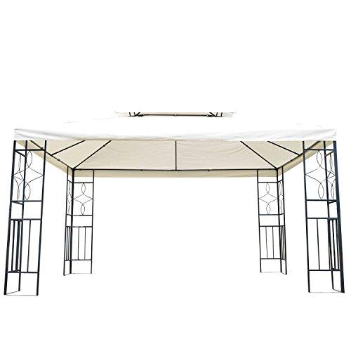 HOMCOM Outsunny® Metall Gartenpavillon Pavillon Partyzelt Bierzelt Gartenzelt 3x4 m creme