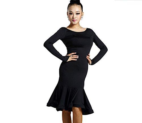Motony Damen Kleid Latin Dance Latin Dance Kostüm für Erwachsene Dance Praxis Performance Rock Gr. XS, schwarz (Latin Dance Kostüm Kleider)