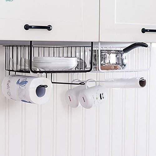 Muti-Funktion Eisen Kunst Hängen Ablagekorb Kreative Einfache Stil Unter Regal Korb for Küche Büro, Pantry Badezimmerschrank (Schwarz) (Color : White) -