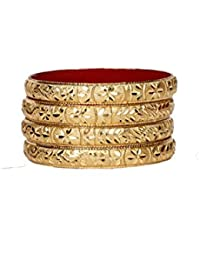 Set Of 4 Traditional Jewellery Gold Plated Bangles For Daily Use With Intricate Meenakari Work For Women And Girls - B07C7HR8PR