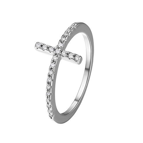 Mom-ring-schmuck (Suplight Damen Ring Zirkonia Kreuz Ring platiniert Bandring Partnerring Fingerring Schmuck für Hochzeit Verlobungsfeier 64(Silber))