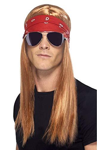 Perücke Rocker 90er Jahre Hard Rock Herren Classic Rock, inklusive Stirnband und Sonnenbrille, rot-blond, One Size