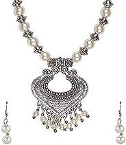 Bodha Traditional Indian Antique Silver Oxidised Adjustable Afghani Etnic Stylish Designer Combo Necklace Jewe
