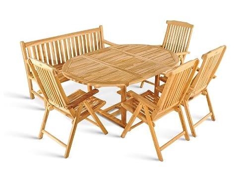 SAM® Teak-Holz Gartengruppe, 6 teilig, Garten-Möbel aus Massiv-Holz, 1 x Ausziehtisch, 4 x Hochlehner Klapp-Stuhl, 1 x 3er Sitzbank
