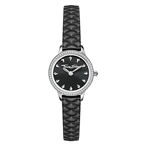Thomas Sabo Women Ladies Watch Stainless Steel; Leather Black Leather Strap WA0329-203-203