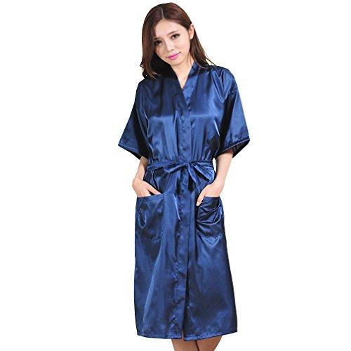 5bc530831f Boyann raso vestaglie e kimono lungo pigiami e camicie da notte  allattamento donna accappatoi, blu
