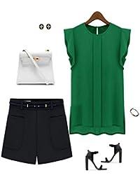 Koly Sexys Camisetas Para Mujer elegante Blusa Sin Mangas Chaleco De Gasa Suelto Camisetas y tops Blusas y camisas Manga de tulipán Pullover Sudadera Shirt