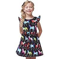 Vestidos de niñas | Vestido de Fiesta de Princesa con Estampado de Estrellas de Dibujos Animados con Mangas de Mosca para niñas pequeñas para niños pequeños 12 Meses - 5 años