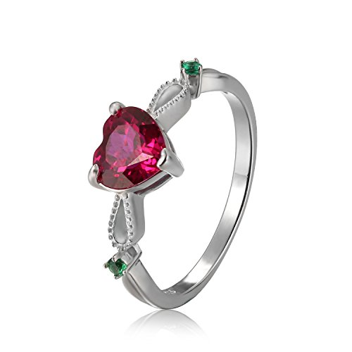 Ring Ruby 3 (JewelryPalace Fashion 1.7ct Erstellt Ruby 3 Stein Ring 925 Sterling Silber)