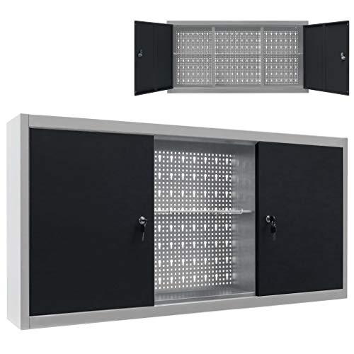Tidyard Armario de Herramientas de Pared Industrial Metal Gris y Negro 120 x 19 x 60 cm