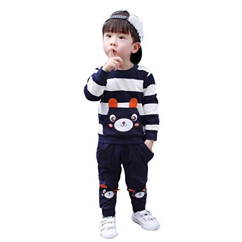 LuckyGirls Baby Kleidung Set Kinder Mädchen Jungen Striped Bär Pullover Sweatshirt Tops + Tasche Hosen Outfits (2T/90CM)