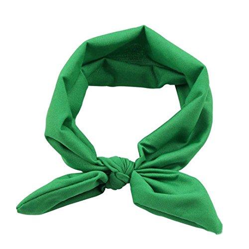 Omiky® Frauen Yoga Elastischer Bogen Haarband Turban Geknotete Kaninchen Haarband Stirnband (Grün)