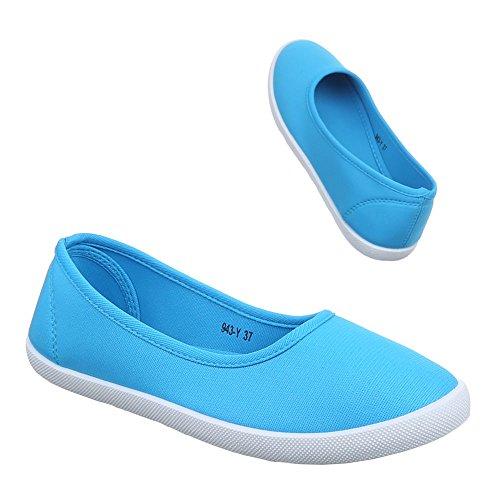 Damen Schuhe, 943-Y-1, HALBSCHUHE SLIPPER FREIZEITSCHUHE Blau