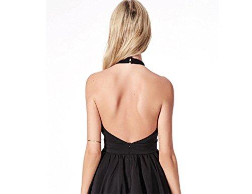 Hanging cou plissée robe robe en mousseline de soie noir Black