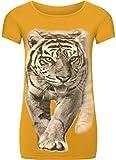 WearAll - Damen Tier Tiger Druck Kurzarm Elastisch Top T-Shirt - Senf - 36-38