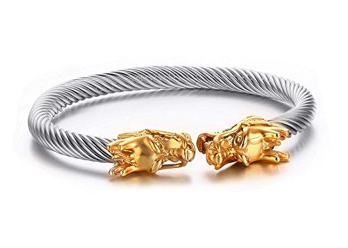 Vnox Argento Uomo Acciaio Di fronte Oro Dragon Head Wire vichingo del braccialetto del polsino