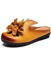 Onfly Pompe Mules Chaussons Des sandales Dames Cuir véritable Confortable Fleurs Dentelle Creux Fond doux Chaussures plates Cool Pantoufles Eu Taille 35-40