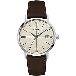 Bulova Men's Designer Watch Leather Strap - Dark Brown Classic Aerojet Wrist Watch 96B242