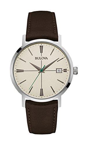 bulova-classic-aerojet-96b242-herren-designer-armbanduhr-armband-aus-leder-dunkelbraun