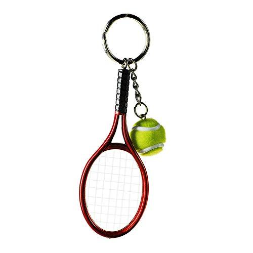 Cupcinu Tennisschlüsselring-Anhänger Großhandel Sportartikel Tennis Schlüsselanhänger Simulation Tennis Schlüsselanhänger size 3.7 * 12cm (Red)