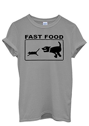 Fast Food Cat and Dog Parody Joke Cool Funny Men Women Damen Herren Unisex Top T Shirt Grau