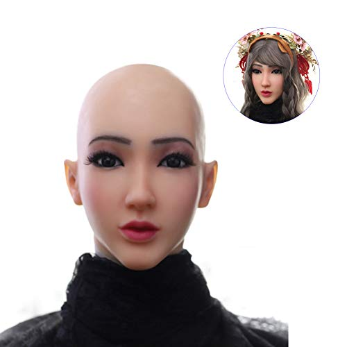 WANGXN Weibliche silikon Maske realistische Engel Gesicht weibliche Masken Halloween Masken Cosplay männlich zu weiblich