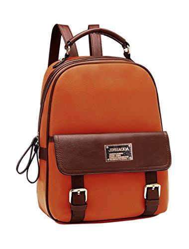 Preisvergleich Produktbild Allegra K Damen Farbblock Schnapp-verschluss Tasche Reißverschluss Vorne Closed Rucksack - Damen,  Braun,  Einheitsgröße