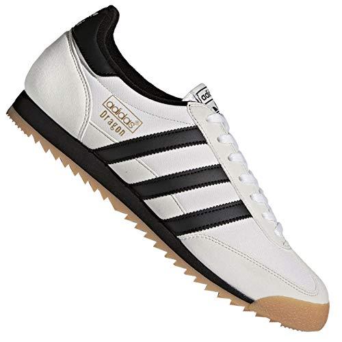 adidas Originals Dragon Schuhe Sneaker Leder Turnschuhe Klassiker Weiß Schwarz, Schuhgröße:38 2/3 EU, Farbe:Weiß/Schwarz