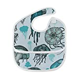 Baberos lindos para niñas Hermosa criatura acuática Baberos de medusa Snap Girl Mancha suave Alimentación del bebé Dribble Drool Baberos Eructo para bebés 6-24 meses