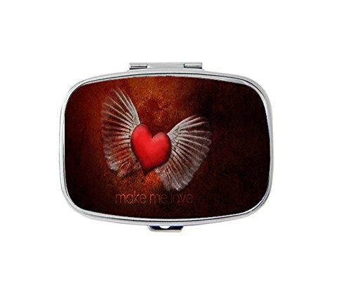 Engel Flügel und Herz Rechteckig/Pillendose Tablettenbox Gase • 2Fächer für Tabletten/Pillendose Tablettenbox Fall Getrennt bleibt