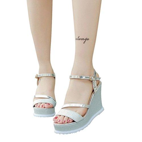 Calzado Chancletas Tacones Zapatos de Cuñas de Mujer Sandalias de Verano Zapatos de Tacón alto con Plataform ❤️ Manadlian (Plata, CN:38)